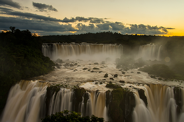 Sunset from the Brazil side of Iguazu Falls© 2013 Bob Harvey
