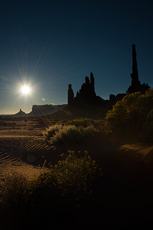 First light at the totems, Monument Valley © 2013 Bob Harvey