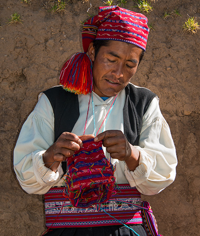 The island of Taquile, World Heritage Site famous for traditional weavers, mostly men. © 2016 Diane Kelsay