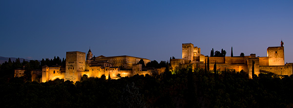 Alhambra as the sun goes down and just a hint of blue remains in the sky as the lights come on.  Perfect time to photograph, and our guide led us to the optimal location. © 2016 Diane Kelsay
